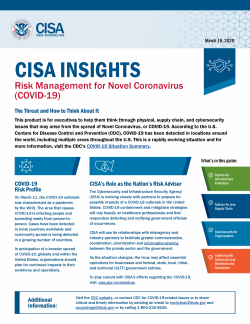 From CISA (Homeland Security) Guide For Executives: Risk Management For Novel Coronavirus (COVID-19)